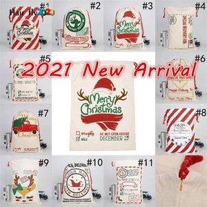 DHL Ücretsiz Yeni 2021 Noel Santa Sacks Tuval Pamuk Çanta Büyük Ağır İpli Hediye Çanta Kişiselleştirilmiş Festivali Parti Noel Dekorasyon HS13