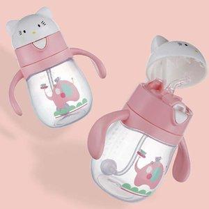 Bouteille de tasses non déversables pour bébé avec une bouteille de paille buvant de la toupie de la bouteille d'enfant de la bouteille d'enfant de la bouteille 270 ml