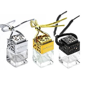Square Shape Glass Car Perfume Bottles Pendant 6ML Perfumes Empty Hanging Cars Diffuser Bottle 4 Colors