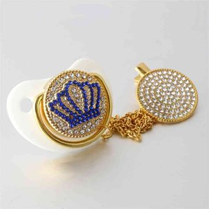 Luxury Crown Baby Bling Pacifier Rhinestone White Pearl Crystal Silicone Pacifier Soother Baby Dummy Pacifier Clip 210407