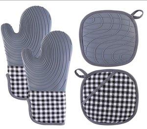 Almofadas Hot Silicone Forno Mitts e suportes de pote Conjuntos com revestimento acolchoado Luvas de cozinha resistente ao calor Luvas flexíveis impermeáveis para cozinhar grelhar de cozimento