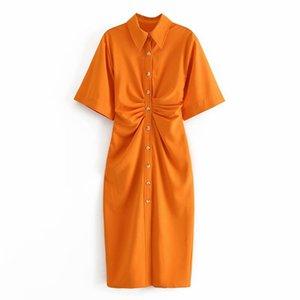 Propcm Kadınlar Chic Button-Up Draped Midi Gömlek Elbise Vintage Kısa Kollu Yan Fermuar Kadın Elbiseler Vestidos
