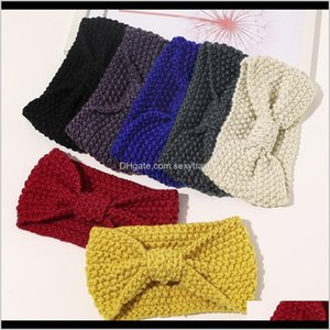 Jewelry Drop Delivery 2021 Autumn Winter Knitted Headbands Women Accessories Retro Twisted Elastic Wide Hair Scarf Hairband Solid Head Band H