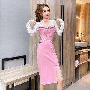YILIN KAY 2021 Осенние женщины высокого класса пользовательские кружевные платье сексуальные выдолбленные обертывающиеся волосины повседневные платья