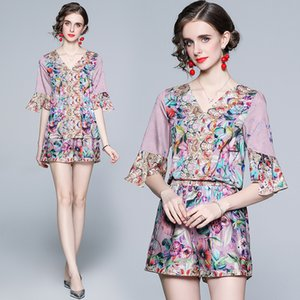 High-end Womens Set Shirt+pants Short Sleeve Printed Summer Two Piece Set Fashion Sweet Casual Girl Suits