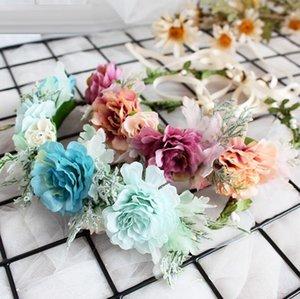 Karanfiller Çelenk Bantlar Kore Tarzı Basit Saf Taze Corolla Saç Bandı Kız Tatil Plaj Düğün Headdress Takı