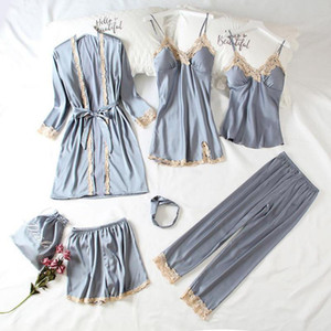 Women's Sleepwear Summer Women Long Sleeve Robe Suite Lace Sexy Seven Piece Set Ladies Silk Satin Bathrobe Loose Casual Homewear