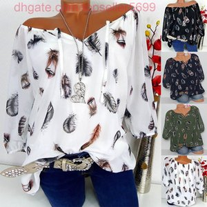Women Half Sleeve Feather Print V-neck Blouse Pullover Tops Shirt Plus Size