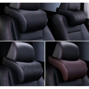 Seat Cushions Pu Leather Auto Car Neck Pillow Memory Foam Filling Headrest Cushion Pad Rest Head Protection Support