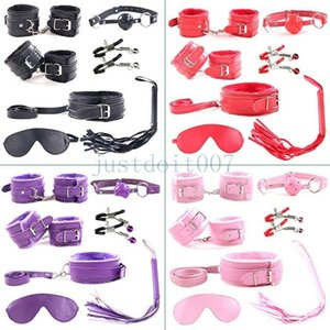 7pcs   set Bondage SM toy handcuffs ankle cuff with whip rope prank collar tie 4 colors