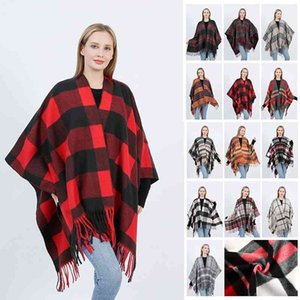 2021 new Plaid barbed scarf dual purpose increased soft fashion split fork autumn and winter shawl