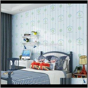 Wallpapers Décor Home & Garden Drop Delivery 2021 Cartoon Compass Embossed Wallpaper 3D For Kids Room Self Adhesive Moon Star Children Bedroo