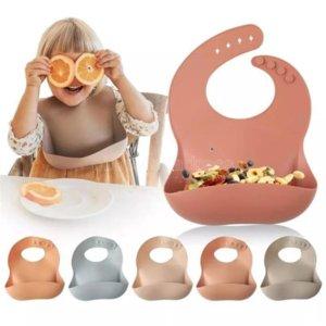 1pc Silicone Bibs For Kids Newborn Baby Feeding Tableware Waterproff Baby Bibs For Toddler Breakfast Feedings CY07