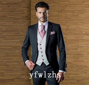Classic One Button Handsome Groomsmen Peak Lapel Groom Tuxedos Men Suits Wedding Prom Man Blazer ( Jacket+Pants+Vest+Tie) W871