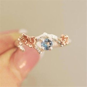 Cute Flower Plum Blossom Ring Rose Gold Rings For Women Romantic Wedding Blue Crystal CZ Love Gifts Jewelry Band