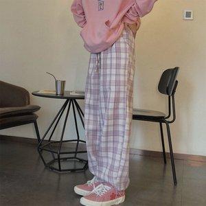 Vintage Pink Plaid Elastic Waist Plus Size Clothing for Women Casual Loose Wide Leg Pants Pockets Harajuku Korean Clothes