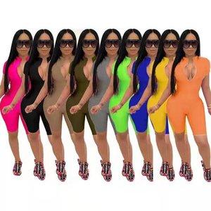 Sexy Plus Taille Femmes Jumpsuits Designer Summer Shaksuits BodySuites Fermeture à glissière Skinny Skinny Col V-Col Shorts Shorts de Yoga Tenues de la mode Mode Rompeurs