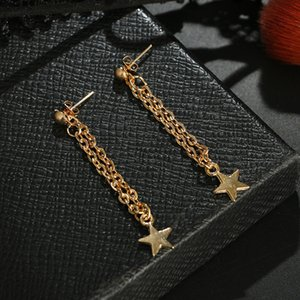 Tassel Star Earrings Gold Color Chain Angle Long Earrings Statement Dangle Ear For Wedding Women Elgant Girls Wholesale Jewelry Gifts 120 G2