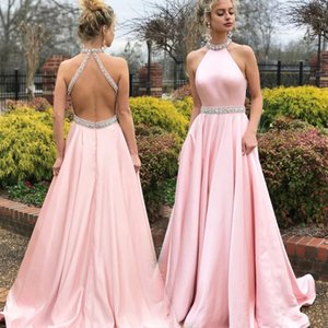 2021 Baby Pink Prom Dresses A Line Crystal Beading Halter Formal Evening Gowns Sexy Backless Satin Maid Of Honor Party Dress 2K17 18