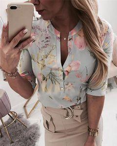 Women Long Half Sleeve Loose Shirts Shirt OL Clothes Plain Casual Button Blouse Office Lady Summer Chiffon Blusa Feminina Women's Blouses &