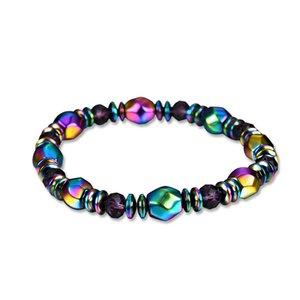 Rainbow Magnetic Hematite Beaded Strands Bracelet For Men Women Power Healthy Bracelets Wristband Fashion Jewelry Gift