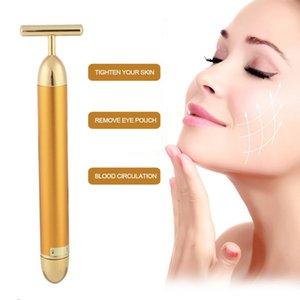 Golden Facial Massager Waterproof Slimming Electric Beauty Bar T Shape Face Massage Roller Care Vibration Drop Shipping