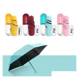 Household Sundries Home & Garden Drop Delivery 2021 Capsule Case Ultra Light Mini Folding Compact Pocket Umbrella Sun Protection Windproof Ra