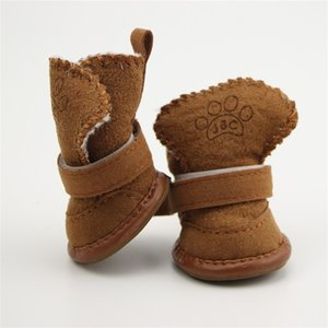 4pcs set Non-slip Cotton Waterproof Warm Winter Shoes Teddy Pet Thick Soft Bottom Snow Boots for Small Dog 26 S2 6CBF