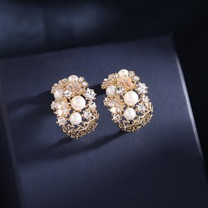 Brand fashion luxury stud earrings golden temperament women pearl shell flowers shiny zircon S925 silver needle hollow jewelry
