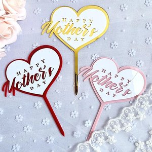 Cake Decoration Rose Gold Acrylic Heart Letter Topper Happy Mother`s Day For Gift Mom Other Festive & Party Supplies