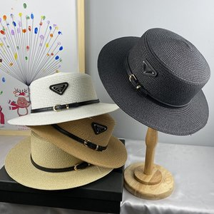 Vintage Women Straw Shade Hat Fashion Beach Sun Protection Hats Outdoor Travel Vacation Flat Top Wide Brim Cap