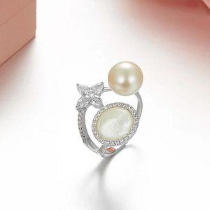 Кластерные кольца SOLLE 925 Стерлинговые серебро Мода Цветок Кубический Цирконий Жемчужный Кольцевый Дизайн бренда для Женщин Дамы Свадебные Украшения