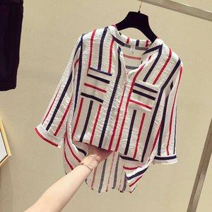 Vertical stripe women's spring 2020 new loose fitting seven point sleeve top Han Fan Blue V-neck shirt