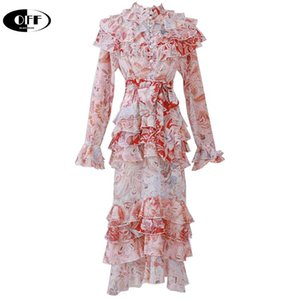 Casual Dresses High Quality Designer Runway Woman Party Night Midi-Long Dress Ruffles Long Sleeve Elegant Beach Holiday Lady Female ZA