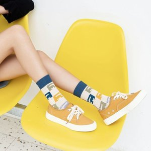 summer men's spring socks female and wo personality lovers in the tube cartoon stripe street fashion cotton Sos