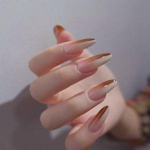 False Nails 24pcs Two-color Gradient Nail Patch Glue Type Removable Long Paragraph Fashion Manicure Save Time Faux Ongles