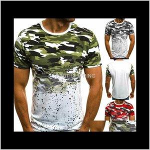 Мужские футболки одежды мужской тренажерный зал Повседневная летняя стройная подходит с коротким рукавом мышц тройники топы мода о шеи хлопок камуфляж принция b nijwh