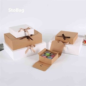 10pcs Kraft Paepr Stobag Baking Cookies Gift Merry Christmas Shirt Packaging Box Birthday Weeding Custom Print Q1127