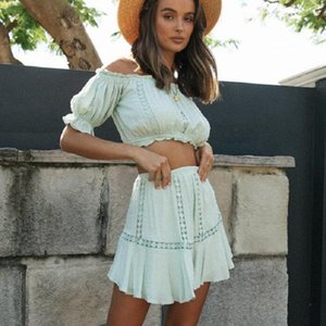 Women's Polos 2021 Summer Two Piece Sets Women Bohemian Casual Beach Skirts White Lace Off Shoulder Crop Tops And Short Pleated