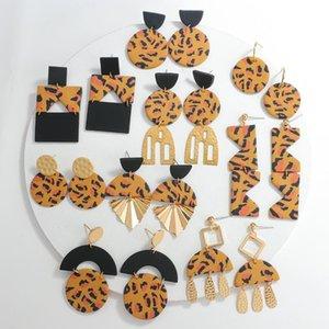 Dangle & Chandelier AENSOA Leopard Handmade Geometric Polymer Clay Drop Earrings For Women Fashion Layered Metal Long Earring Art Jewelry