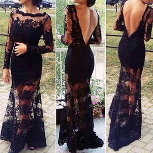 Fashion Sexy Vintage Women Black Long Lace Dress Backless Fitted Slit Crochet Floor Maxi Party Dresses Vestidos De Fiesta