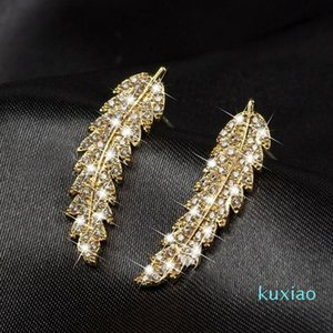 Fashion accessory Korean classic micro inlaid zircon Leaf for women's personalized simple versatile 925 silver needle Earrings 1CCBD