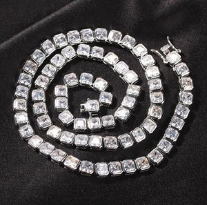 6mm 1 Row Solitaire Tennis Chain Necklace Silver Finish Lab Diamonds Cubic Zircon Earring Men Women gift jewelry 16-22inch