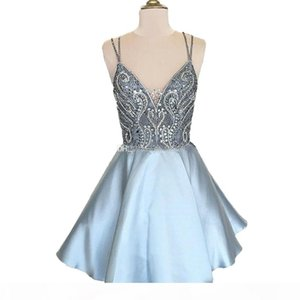 Chic Blue Knee Length Homecoming Dress 2020 Spaghetti Straps Short Beading Prom Party Gowns Cheap Mini 8th Graduation Dress Cocktail Club