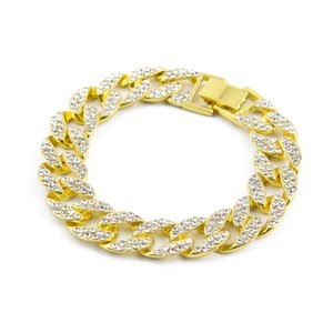 Fashion Charm ICED OUT 15mm BLING RHINESTONE MIAMI CUBAN LINK CHAIN HIP HOP BRACELET GOLD Bijoux Gift For Man Link,