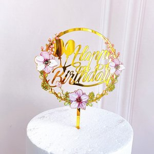 New Home Colored flowers Happy Birthday Cake Topper Golden Acrylic Birthday party Dessert decoration for Baby shower Baking supplies 516 V2