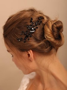 Headpieces Goth Black Rhinestones Women Hair Accessories Crystal Chic Wedding Comb Bridal Headwear Ladies Clips Decoration