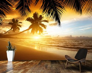 Papel De Parede Beautiful Beach Palm Trees Sunset Natural Landscape 3d Wallpaper Mural,living Room Bedroom Wall Paper Home Decor Wallpapers