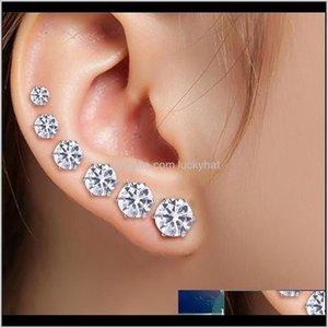 6 paires mode punk cubique oreilles goujons bijoux pour femmes cool hommes hommes en acier inoxydable rond petit goujon noir blanc boucles d'oreilles 38mm xawm1 oqvlp