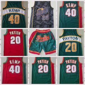 2021 hommes à bas prix rétro classiques Jersey de basketball Gary 20 Payton Shawn 40 Kemp vintage shorts respirants taille S-2XL bleu blanc noir rouge